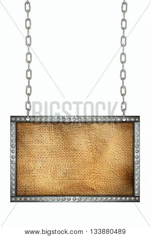 sack texture signboard hanging on chains isolated