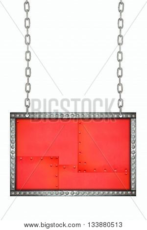red plate with metal rivets signboard hanging on chains isolated