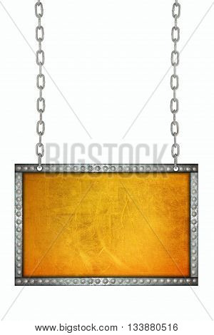 Scratches on a metallic gold signboard hanging on chains isolated