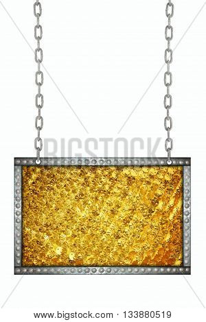 Gold sparkle glittering signboard hanging on chains isolated