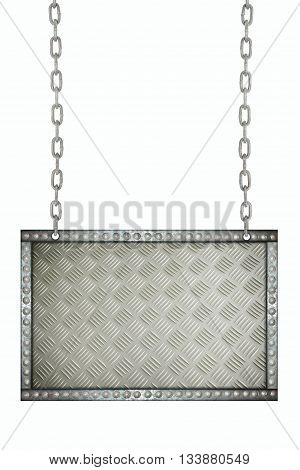 aluminum plate signboard hanging on chains isolated