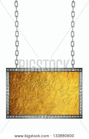 Shiny gold leaf foil signboard hanging on chains isolated
