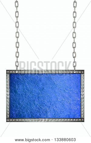 Shiny blue leaf foil signboard hanging on chains isolated