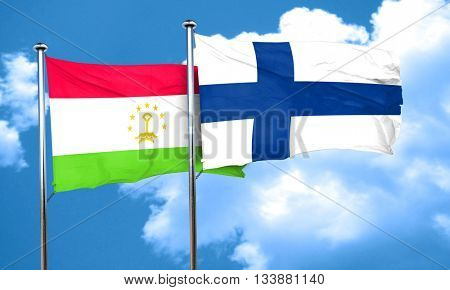 Tajikistan flag with Finland flag, 3D rendering
