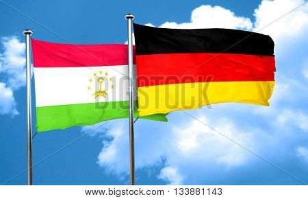 Tajikistan flag with Germany flag, 3D rendering