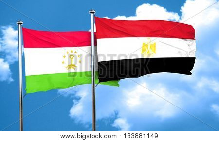Tajikistan flag with egypt flag, 3D rendering