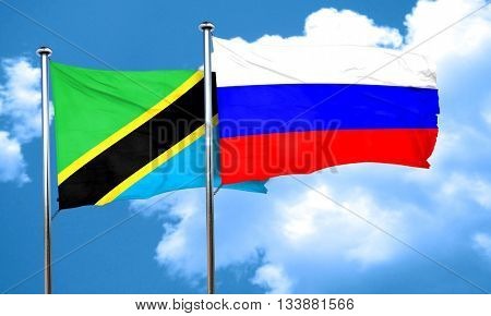 Tanzanian flag with Russia flag, 3D rendering