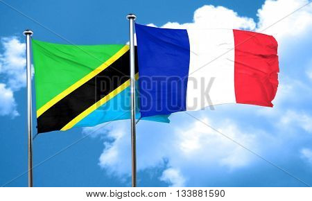 Tanzanian flag with France flag, 3D rendering