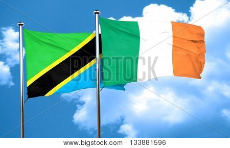 Tanzanian flag with Ireland flag, 3D rendering
