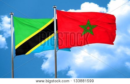 Tanzanian flag with Morocco flag, 3D rendering
