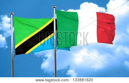 Tanzanian flag with Italy flag, 3D rendering