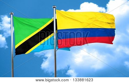 Tanzanian flag with Colombia flag, 3D rendering