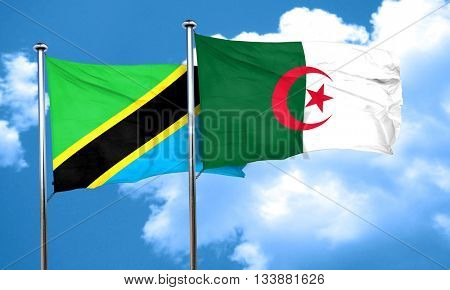 Tanzanian flag with Algeria flag, 3D rendering