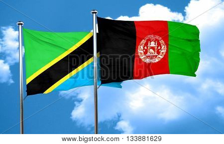 Tanzanian flag with afghanistan flag, 3D rendering