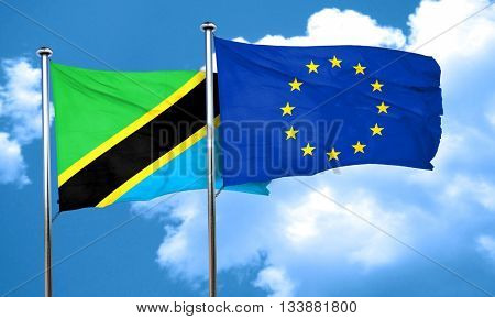 Tanzanian flag with european union flag, 3D rendering