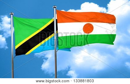 Tanzanian flag with Niger flag, 3D rendering