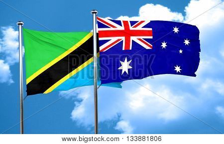 Tanzanian flag with Australia flag, 3D rendering