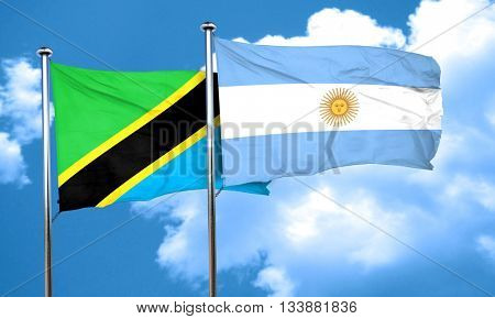Tanzanian flag with Argentine flag, 3D rendering