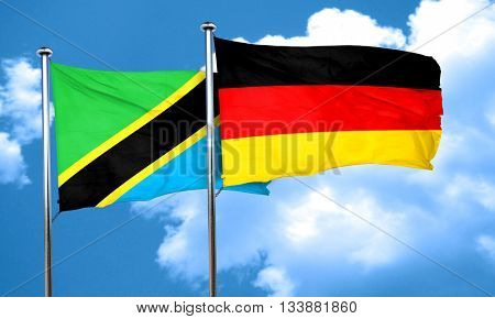 Tanzanian flag with Germany flag, 3D rendering