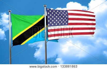 Tanzanian flag with American flag, 3D rendering