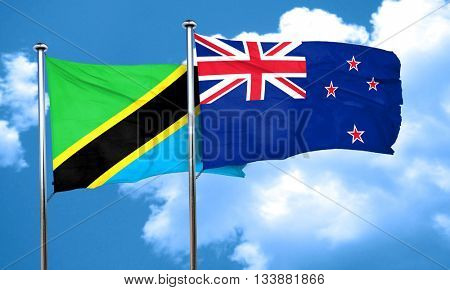 Tanzanian flag with New Zealand flag, 3D rendering