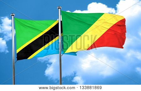 Tanzanian flag with congo flag, 3D rendering