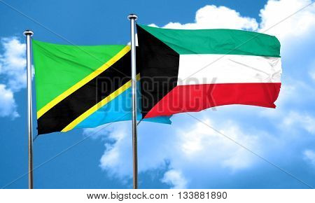 Tanzanian flag with Kuwait flag, 3D rendering