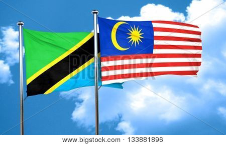 Tanzanian flag with Malaysia flag, 3D rendering