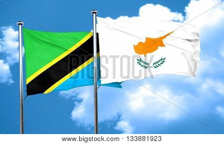 Tanzanian flag with Cyprus flag, 3D rendering