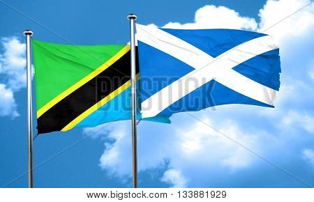 Tanzanian flag with Scotland flag, 3D rendering