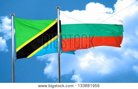 Tanzanian flag with Bulgaria flag, 3D rendering