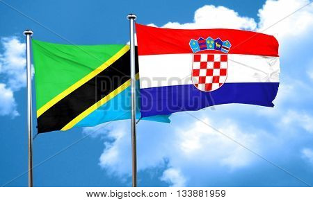 Tanzanian flag with Croatia flag, 3D rendering
