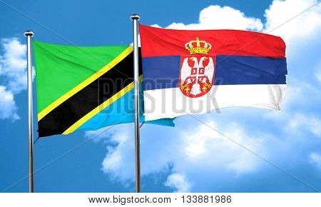 Tanzanian flag with Serbia flag, 3D rendering
