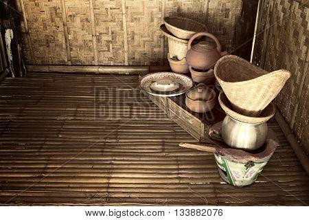 Still life of Thai kitchen : Old north kitchen utensil fashion in Thailand.