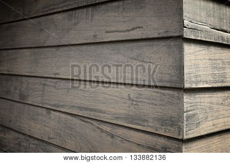 The background surface view with dark wood panels.