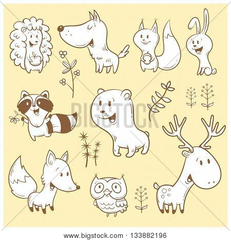 Cute cartoon forest animals set. Funny fox, wolf, squirrel, hare, raccoon, owl and deer. Different plants. Vector contour image, white  fill. Children's illustration.