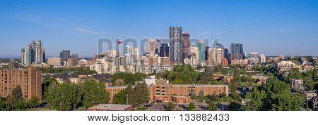 Calgary skyline on a beautiful spring morning.