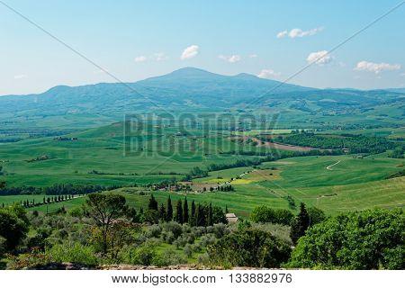Tuscany in spring, wide angle shot, citta della Pieve area