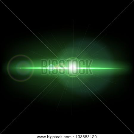 Abstract background with green lens flare, stock photo
