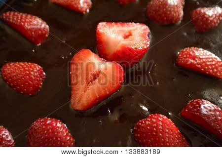 Desert Strawberries and Chocolate Carrot Cake with focus in the center. Red, Brown, Food, Vitamin C Strawberries,