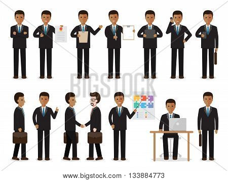 set of black working people on white background. African businessman people in flat design characters.