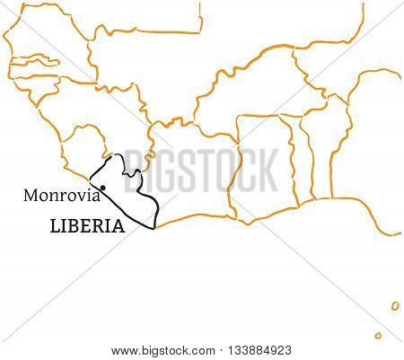 Liberia country with its capital Monrovia in Africa hand-drawn sketch map isolated on white