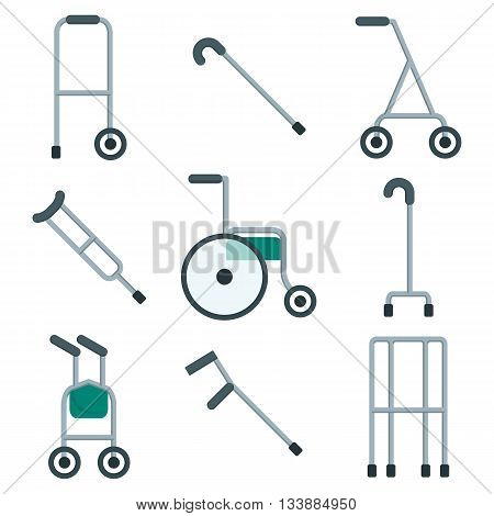 Wide variety of walkers for patients to use to assist them with their mobility. Objects isolated on a white background. Flat vector illustration.