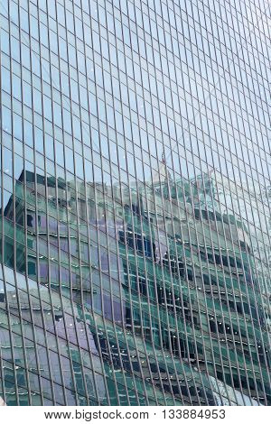 Modern office building background with reflexion [