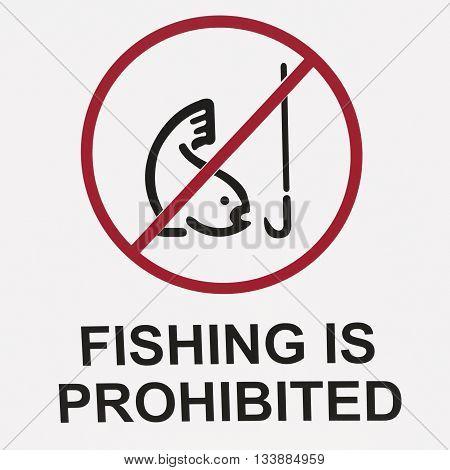 Sign of prohibited fishing on white background