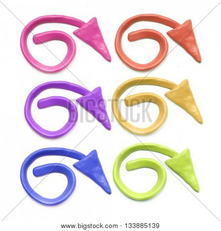 Plasticine arrow icons set. Plasticine color arrow.