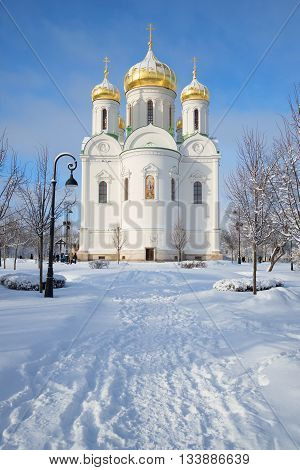 SAINT PETERSBURG, RUSSIA - FEBRUARY 08, 2015: View of the Cathedral of St. Catherine the great Martyr, sunny february day. Religious landmark of the city Tsarskoye Selo, Russia
