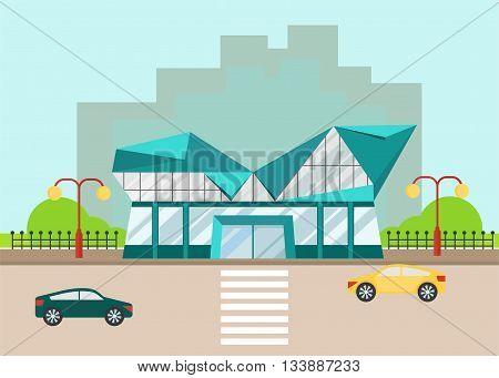 Shopping center with modern facade and low poly roof. Objects isolated on background. Flat and cartoon vector illustration.