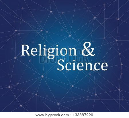 religion science on people faith text on the galaxy vector graphic illustration