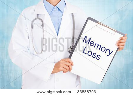 Doctor holding clipboard with memory loss text on a sheet of paper on white background